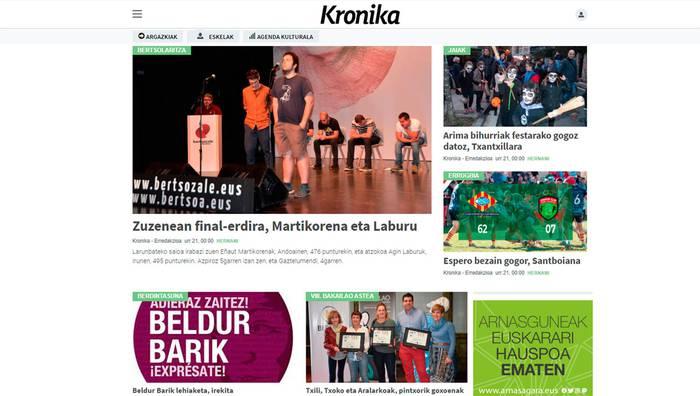 Irakurle izatetik informazioa ematera, Kronikako webgune berrian